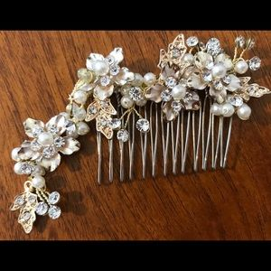 Gold, Pearl and Crystal Jeweled Classic Hair Comb